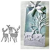 Rocl morire?Natale cervo stencil metallo taglio muore fai da te scrapbooking album artigianale decor - argento