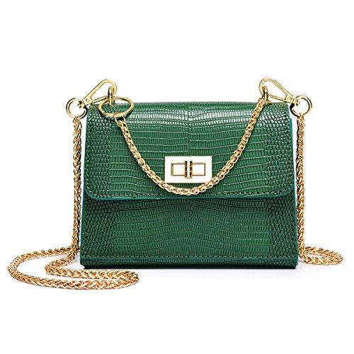 Wu Zhi Lady Chain Piccola Borsa Quadrata Mini Borsa A Spalla Con Chiusura A Bustino Verde