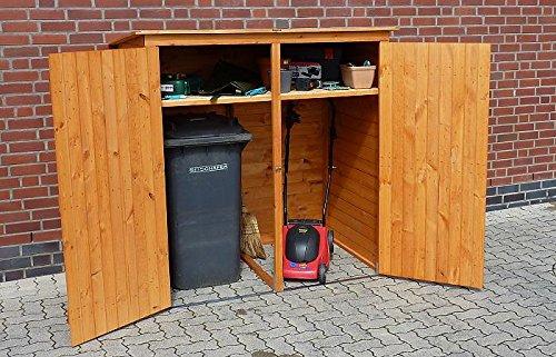Promadino Mülltonnenschrank 2-türig 358/19 Mülltonnenbox honigbraun Holz NEU