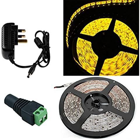 SINOMANN@Waterproof LED Strip 300leds/5M 2835 SMD Cool Warm White Red Green Blue Yellow Light IP65 Ribbon Tape with 12V 2A Power Adapter