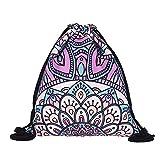 Mandala Turnbeutel Rucksack Indisch Hippie Boho Gymsack Hipster Gym Bag Beutel Tasche Sportbeutel für Sport und Reise, für Damen und Herren