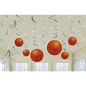 Décoration Spirales Basketball Guirlandes Sport 12 pièces Suspension Balle Article pour Fan Déco à Suspendre Thème Soirée