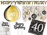 36-tlg. Partyset 40. Geburtstag Dekoset Dekobox - Girlanden, Luftballons, Servietten usw. - schwarz/gold