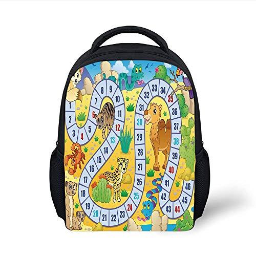 Kids School Backpack Board Game,Desert Fauna Wildlife in Cartoon Style Cactus Plants Animals Boys Girls Playroom Decorative,Multicolor Plain Bookbag Travel Daypack -