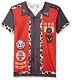 FauxReal Herren Bowling Printed T-Shirt Hemd, rot, XX-Large