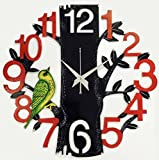 #5: Dinine Craft Wooden Wall Clock for home Latest Design for Living Room Decorative Wall Clock 13X13 Inch (Black+Red+Green)