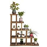 LWF blumenregal Holz-Blumen-Racks Karbonisierte Konservierungs-hölzerne Blumen-Racks Massivholz-Mehrstockwerk-Ausstellungsstand Eckregal-Regale Multilayer-Balkon-Blumentopf-Gestell