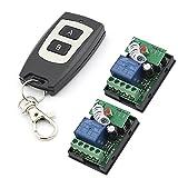 DC 12V 2canales RF control remoto Interruptor Receptor de aprendizaje con autobloqueo Código 433MHz con 2botón negro tipo de transmisor