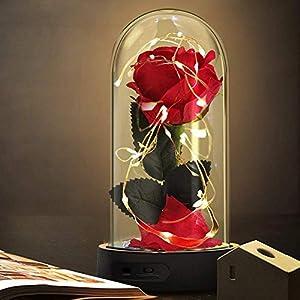 Die Schöne und das Biest Rose Geschenk Kit, rote Seide Rose und LED-Licht mit gefallenen Blütenblättern Geschenke für…