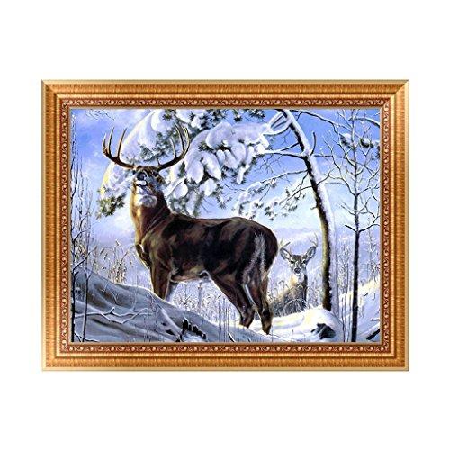 rawuin DIY 5D Deer Snow Diamant Stickerei Gemälde Kreuzstich Craft Home Decor Kit (# 1433)