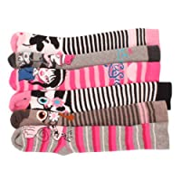 6 x Girls Kids Children Wellington Welly Animal Print Thermal Warm Long Socks