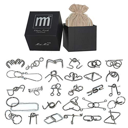 Spieland 24 Stücke Knobelspiele Metall Set IQ Spiele 3D Puzzle Logikspiele Brainteaser Geduldspiele denksport-Puzzle Rätsel Inhalt für Kinder Erwachsene (Erwachsene Für Denksport-spiele)