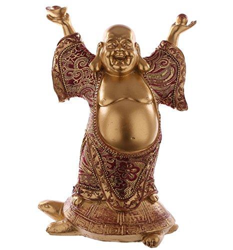 Buddha Figur Gold mit Stoff auf Schildkröte statue buddafigur feng shui buddhismus großer budda