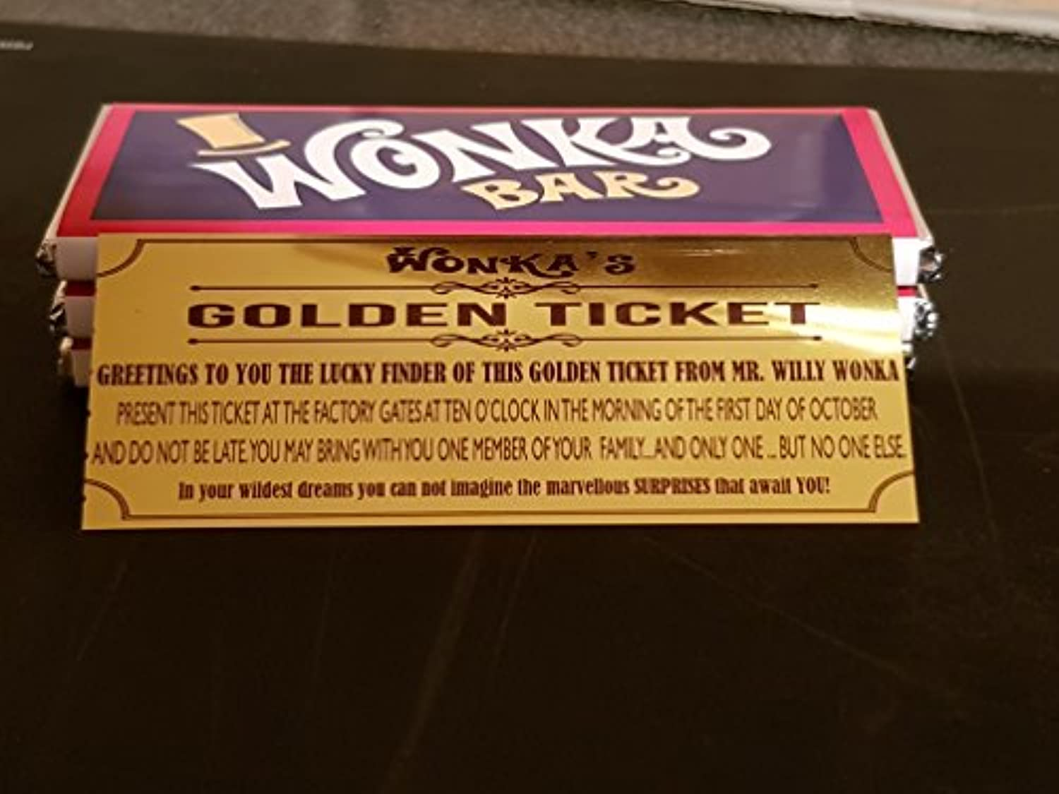 Willy Wonka Custom Made Chocolate Bars With Golden Ticket