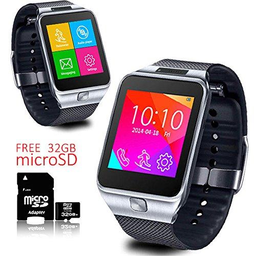 inDigi® SmartWatch & GSM-Telefon WiFi + Sleep Monitor + Bluetooth + Gratis 32GB SD Unlocked Gsm Touchscreen
