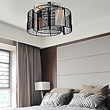 Lámpara de techo simple y elegante de 2 piezas para sala de estar Lámpara de techo de estilo europeo para dormitorio(negro)