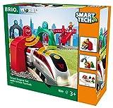 BRIO World 33873 Großes Smart Tech Reisezug Set - Elektrischer Zug mit Schienen, Tunnel &...
