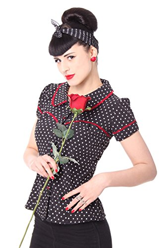 SugarShock Coleen 50er retro vintage Polka Dots Rockabilly Pin Up Puffärmel Bluse m. Rückenausschnitt