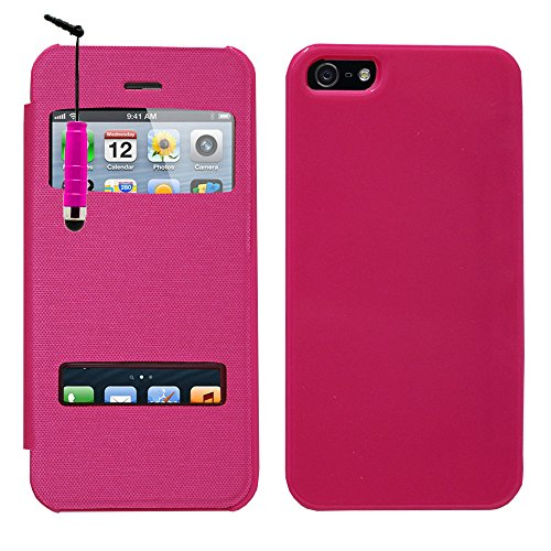 VCOMP® Etui Housse Coque flip cover View compatible pour Apple iPhone 5/ 5S/ SE + stylet - VIOLET ROSE + mini stylet