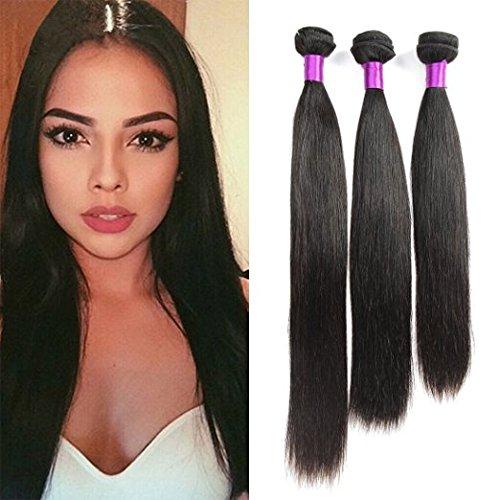 Cheveux brésiliens bruns Weave 3 lots Soie soyeuse Cheveux 6A Extensions de cheveux humains Remy sans traitement 300g / Lot Couleur naturelle (12 14 16 pouces)