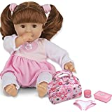 Bundle Includes 2 Items - Melissa & Doug Mine To Love Brianna 12-Inch Soft Body Baby Doll With Hair And Outfit And Melissa & Doug Mine To Love Doll Diaper Changing Set With Bag, Wipes