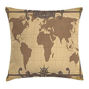 Funda de cojín con diseño de mapa del mundo con imagen del océano continental, decoración cuadrada de acento, 45,72 x 45,72 cm, color marrón arena