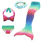 2019 New Mermaid Suit, Color Mermaid Three-Piece + Garland (130# (49.24-51.18 in), DH47)