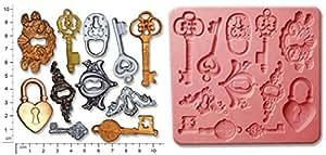 STEAMPUNK LOCKS clés & pâte Fimo KEYPLATES Craft Moule à chocolat en Silicone