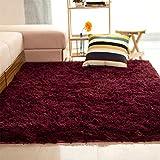 ALCYONEUS, tappeto morbido, rettangolare, antiscivolo. Adatto per il pavimento di camera da letto o soggiorno, Wine Red, 80*120cm