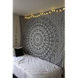 RawyalCrafts elefante en diseño mandala hippie bohemio gitano indio pensamiento mágico tapiz colgante de pared, Boho colcha