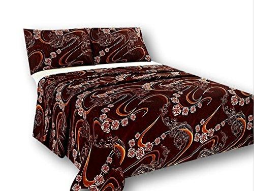Tache geschmolzen Gold Braun Floral Bettlaken-Set, Polyester, multi, Queen -