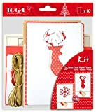 Toga KCN08 Kit de Cartes de vœux Noël Scandinave Papier Rouge/Blanc 10 x 15 x 0,2 cm