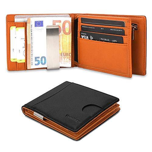Vemingo portafoglio uomo con fermasoldi con porta monete e finestra identificativa | portafogli da tasca frontale sottile con porta carte di credito rfid, nero e marrone