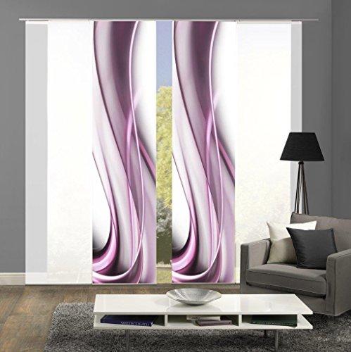 Home Fashion 94148 | 4er-Set Schiebegardinen ONDA | blickdichter Dekostoff & transparenter Halborganza | 4x jeweils 245x60 cm | Farbe: (beere)