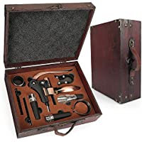 Juego de accesorios para vino Yobansa con caja de madera envejecida, lote para regalo, abridor de botellas de vino y tapón de vino