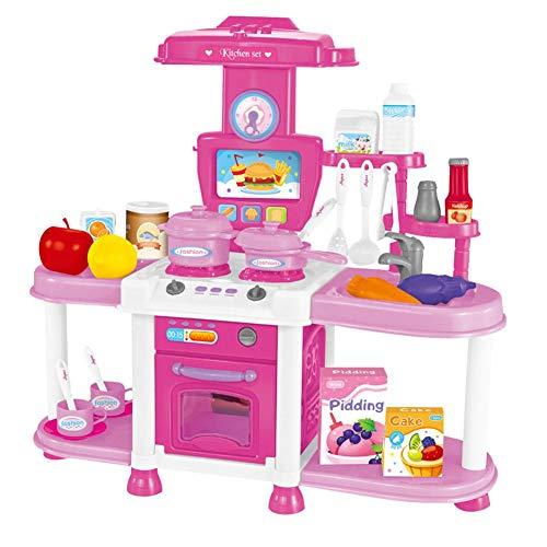 Drfeify Pretend Tool Kit, Kinder Spielen Rollensimulation Küche Kochen Spielzeug Mädchen leichte Musik Geschirr Sets( Pink) (Kochen-kits Für Mädchen)