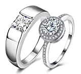 #1: Via Mazzini White Gold Plated Crystal Proposal Couple Rings For Boys And Girls (Ring0356)
