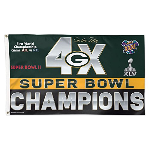 ackers 4x Super Bowl Champions NFL Hissfahne 150 x 90 cm (Green Bay Packers Fahne)