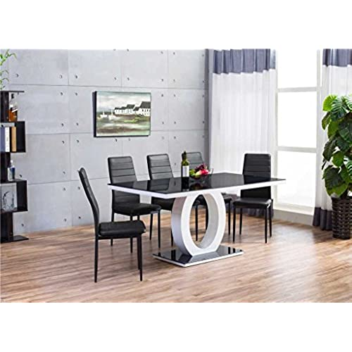 GIOVANI Black/White High Gloss Glass Dining Table Set and 6 Leather Chairs Seats  sc 1 st  Amazon UK & High Gloss Dining Table and Chairs Set: Amazon.co.uk