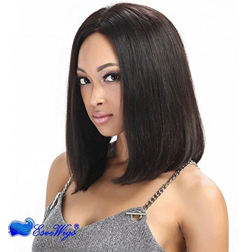 Eseewigs 100% Echthaar Lace Front Perücke kurz gerade bob Perücken für schwarz womennatural schwarz mit Baby Haarspange 12inch