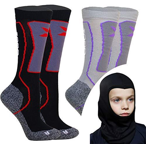Kids Skisocken Set - 2 Paar WARM Kinder Merino SKISTRUMPF + Thermo Sturmhaube - für Mädchen Junge Italien Thermische Socken mit Merino Wolle (Mix (Shwarz/Grau), 31-34 EU (2 Paar))