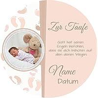 Tortenaufleger Taufe6 rosa mit Wunschtext und Foto/20 cm Ø