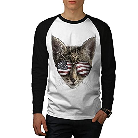 Cat Flag Glasses Head USA Men S Baseball LS T-shirt | Wellcoda