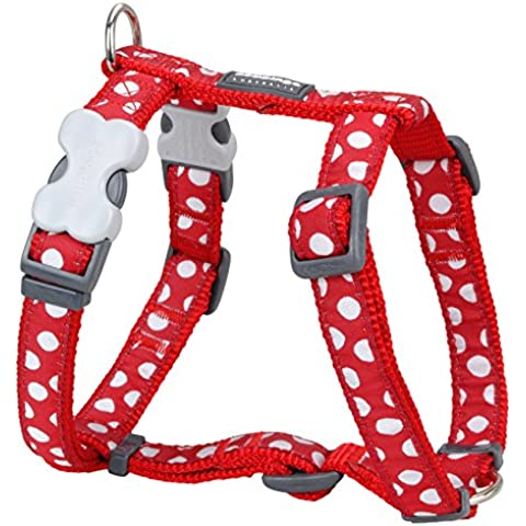 Red Dingo Desinger Arnés del perro lunares, Blanco sobre rojo (25mm x (cuello: 46–76cm/Cuerpo 56–80cm) L
