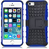 iPhone 5 Hülle, JAMMYLIZARD [ ALLIGATOR ] Doppelschutz Outdoor-Hülle für iPhone 5 / 5s / SE, BLAU
