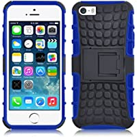 iPhone SE, iPhone 5 / 5s Hülle   JAMMYLIZARD Schutzhülle [Alligator] Doppelschutz Handyhülle Hardcase aus Polycarbonat und Silikon TPU Backcover Lifeproof Case Cover, Blau