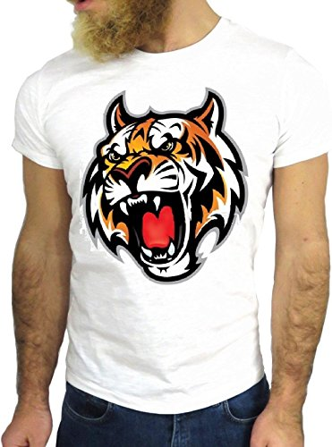 T-SHIRT JODE GGG24 HZ0584 TIGER COOL VINTAGE ROCK FUNNY FASHION CARTOON NICE AMERICA BIANCA - WHITE