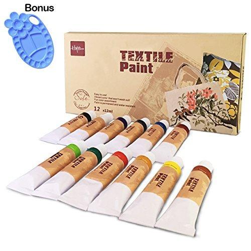 Hapree 12 colores pintura de tela permanente colores vibrantes pinturas textiles tinte para camiseta ropa lienzo madera cerámica vidrio, 12 x 12 ml (0,4 fl. oz)