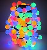 180-er XXL Party-Lichterkette | mehr als 17 Meter Länge | IP44 Innen- und geschützten Außenbereich | Deko | Weihnachten | Sommerlichterkette | Gartenlichterkette | Kugel-Lichterkette (Bunt)