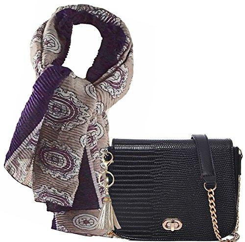 Schwarze City Abend- Umhänge- Damen- Hand- Tasche als Geschenk- Set mit zusammen mit edlem Halstuch, langer Schal mit Plissee- Falten angenehme Trageeigenschaft ca.90x180cm (Strukturiertes Fach Portemonnaie)